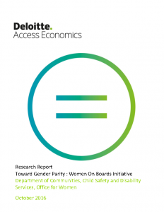 Toward Gender Parity Women on Boards Initiative 2016