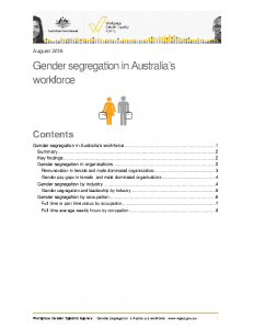 WGEA Gender Segregation in Australian Workforce 2016