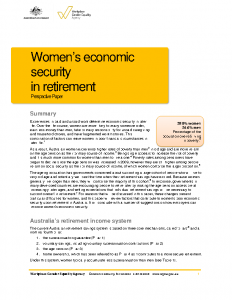 WGEA Poverty in Retirement Womens Economic Security in Retirement 2015