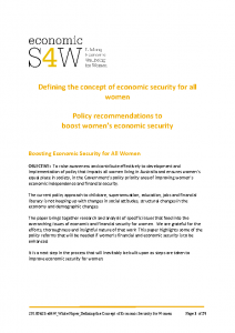 White Paper Defining the Concept of Economic Security for Women