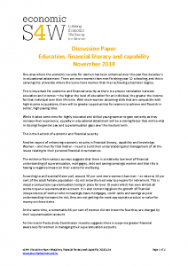 2018 eS4W Discussion Paper Education, financial literacy and capability