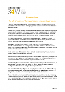 2019 eS4W Discussion Paper The role of carers and the impact on economic security for women