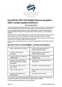 2021-06-15 AGEC Budget Summary response FINAL